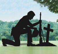 *NEW* Handmade Wood Lawn Yard Shadow Silhouette - Praying Soldier Memorial Small