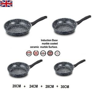 Non Stick Frying Pan Black GRANITE Marble Coated For Gas Electric Induction Hob