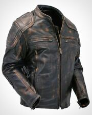 Cafe Racer Quilted Distressed Vintage Motorcycle Leather Jacket Mens Bikers