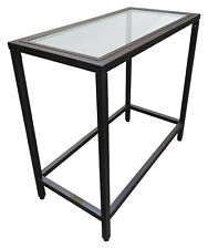 Rectangle Glass Top Chairside Accent Table with Black Metal Base