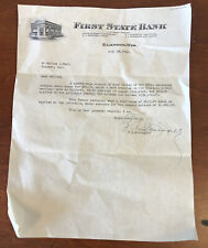 """Antique Advertising 1946 First State Bank Gosport Indiana""""Receipt Mortgage Note"""""""