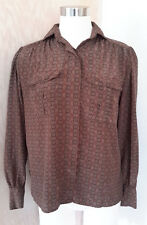 JH Collectibles Women's Long Sleeve Vintage Brown Geometric Print Blouse Size 4