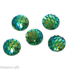 50PCs Resin Embellishment Green AB Colour scales mermaid Dome Cameo Cabochon