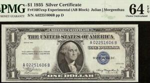1935 $1 DOLLAR EXPERIMENTAL A-B BLOCK SILVER CERTIFICATE NOTE 1607exp PMG 64 EPQ