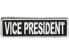 "VICE PRESIDENT 3.5"" x 1"" iron on patch (3713) Biker Club Rank Title"