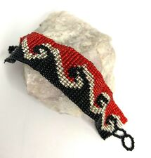 Statement Seed Bead Bracelet Red Black White Wave High Gloss Loomed