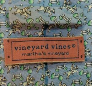 "Vineyard Vines Lite Blue ""Horse Jumping "" Men's Silk Tie $95 Retail"