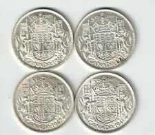 4 X CANADA 50 CENTS HALF DOLLARS KING GEORGE VI SILVER COINS 1940 1941 1942 1943