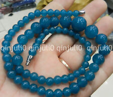 100% Genuine Natural 6-14mm apatite Round Beads Necklace 18 inches JN2559
