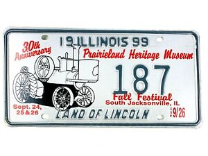 Tractor Picture License Plate Art 1999 Special Event IL Prarieland Man Cave Gift
