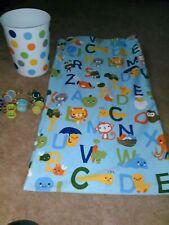 Kid's Circo Abc Animals Fabric Shower Curtain, Alphabet Hooks & Wastebasket!