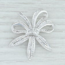 1.41 ctw Diamond Flower Brooch - 14k White Gold Statement Pin Floral