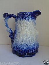 Vintage Burleigh Ironstone Staffordshire Cobalt Blue & White Couple Pitcher