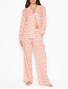 NEW Victoria Secret Lightweight Cotton Pajama PJ Set Pink VS Script Size L NWT