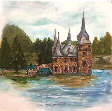 Castle Mixed Media Acrylic Painting Original Canvas 12x12 Art Penny Lee StewArt