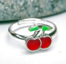 Neu KINDERRING mit KIRSCHEN rot/grün/silber GRÖßENVERSTELLBAR Kirsche RING