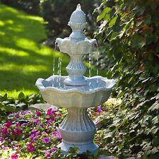 Water Fountain 2 Tiered Floor Outdoor Backyard Garden Waterfall Patio  Durable