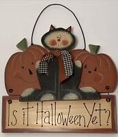 Halloween Wood Sign Black Cat Jack-o-lanterns Country Farm House Primitive