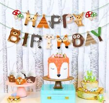 Happy Birthday Woodland Banner Forest Animals Garland Bunting Jungle Decoration