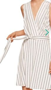 Mango - White striped 'Crossed' v-neck mini wrap dress