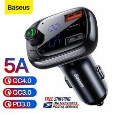 Baseus Car Bluetooth 5.0 FM Transmitter 5A USB Charger MP3 Radio Player Aotu Kit
