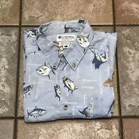 Pre-Owned Columbia Fish Print Shirt Men's Size L Button Up Short Sleeve Shirt