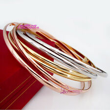 Real Solid 18k Rose Yellow White Gold GF Interlock Lady Women 6 Bangles Bracelet