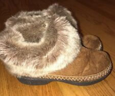 ISOTONER Burgundy Brown FAUX FUR & FABRIC COMFY SLIPPER BOOTS WOMENS Sz 6.5 7 #