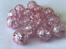 50 PCS 10mm pink Crack bead glass round spacer beads jewelry crackle 76p