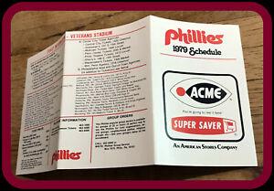 1979 PHILADELPHIA PHILLIES ACME BASEBALL POCKET SCHEDULE EX+NM FREE SHIPPING