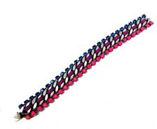 DANNIJO Giulia Swarovski crystals Link Bracelet NWT $245 Pink Navy Lavender