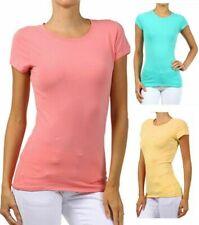 New Women's Casual Basic Summer T-Shirt Stretch Crew Neck Cotton Top