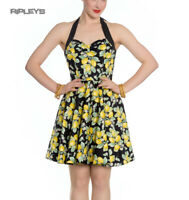Hell Bunny Black Summer Polka Dot Mini Dress LEANDRA Yellow Lemons All Sizes