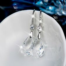 18k white gold gf made with SWAROVSKI crystal drop dangle earrings sparkling