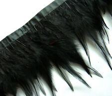 F202 PER 30cm - Black Rooster Hackle Hen feather fringe Trim Fascinator Material