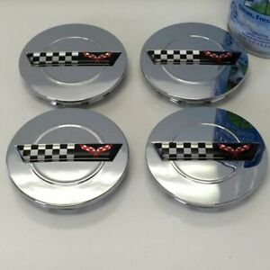 "4 Chrome Center Caps fits: Chevy Corvette Camaro 91 - 96 ZR1 C4 Wheel Rims 3"""