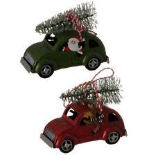 "Raz Import~4"" Metal Retro Red/Green Automobile Car Christmas Ornament~Set 2~Tree"