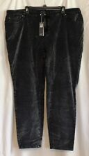 NWT $248 EILEEN FISHER WOMAN GRAY BLACK COTTON VELVETEEN MID RISE JEANS SZ 24W