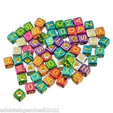 300 Mix Bunt Acryl Buchstaben Quadrat Würfel Perlen Spacer Beads 6mmx6mm
