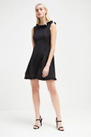 French Connection Stretch Tie Waist Frill Belted Low Scoop Back Black Dress