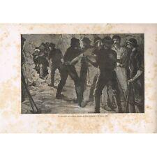 Saint-GOTHARD Rencontre des Ouvriers Mineurs le 29 Février 1880 GRAVURE XIXè S.