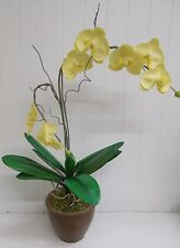 "KW-495 Yellow 28"" Orchid Silk Flower Bouquet Arrangement with  5.5"" POT"