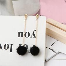 New Women White Faux Fur Ball Dangle Ear Stud Crystal Earring Fashion Jewelry