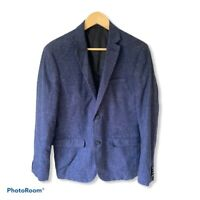 HM Navy Blue Wool/Linen Knit Blend Slim Fit Blazer Sport Coat Jacket 40R