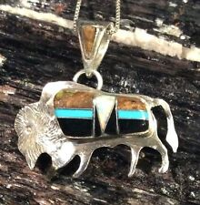 Native American Sterling Silver Buffalo Pendant Inlaid with Turquoise, Onyx more
