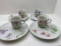 Vintage Porcelain Japan Mogi Floral Tea Cup Set with Plates Snack Set of 4