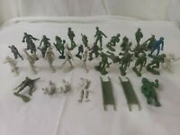 Lot 37 Vintage Louis Marx & Unknown Gray, Green, Blue Plastic Toy Soldiers