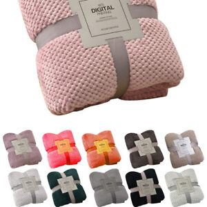 Stylish Popcorn Waffle Blanket Fleece Travel Sofa Bed Blanket Warm Cosy UK