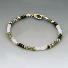 100% Natural Multi Faceted Gemstone Beaded Bracelet 925 Silver Clasp 7.5''