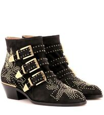 NIB Authentic CHLOE Susanna Charcoal Suede Studded Ankle Boots Booties SZ 40 EU